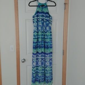 Lily Rose | Blue and Green Maxi Dress | Size S